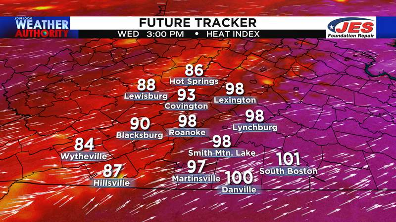 Projected heat index for Wednesday afternoon