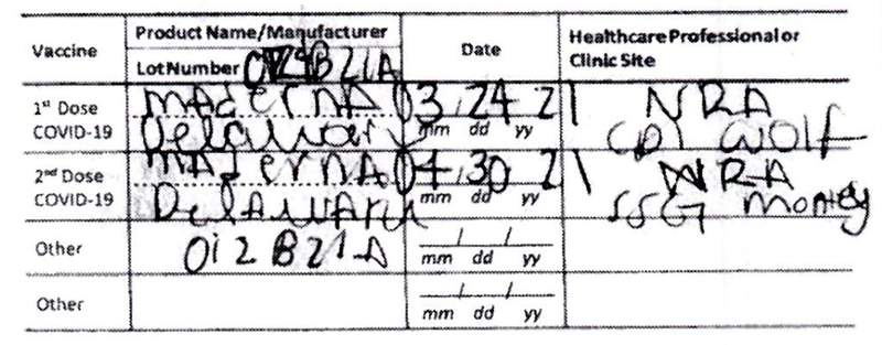 """This document provided by the Hawaii Attorney General's Office shows a fake COVID-19 Vaccination Record Card from a tourist visiting Hawaii. The Illinois woman submitted the fake card to avoid Hawaii's 10-day traveler quarantine, according to authorities, but there a glaring spelling error that led to her arrest: Moderna was misspelled """"Maderna."""" (Hawaii Attorney General's Office via AP)"""