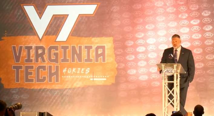 Virginia Tech head coach Justin Fuente addresses the media at the 2021 ACC Kickoff in Charlotte, North Carolina