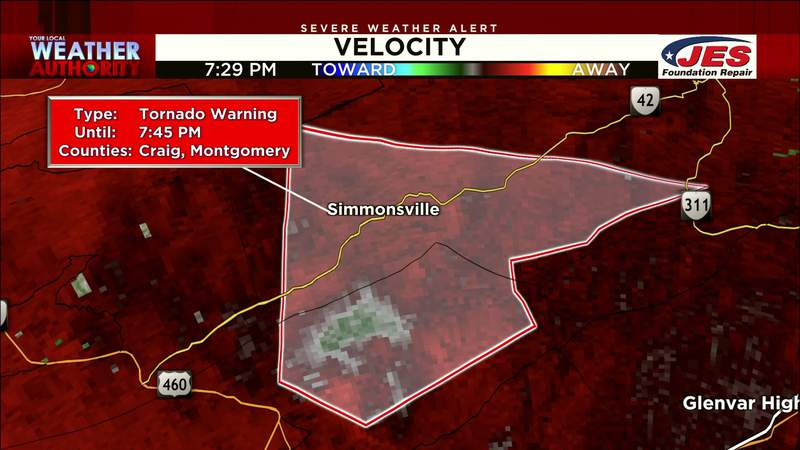 Tornado warning issued for parts of Craig and Montgomery counties on Aug. 31, 2021