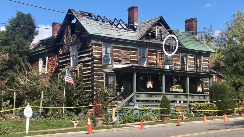 The Log House restaurant in Wytheville, Virginia on Wednesday, Oct. 13, 2021. This is just a day after the fire that burned inside the restaurant.