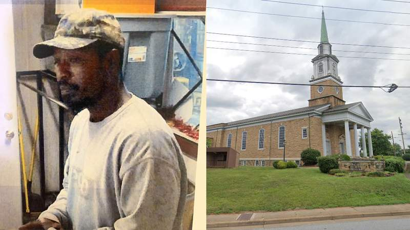 Left: Suspect's photo (Lynchburg Police Department Right:Fairview Christian Church on Campbell Avenue. Image captured July 2019.