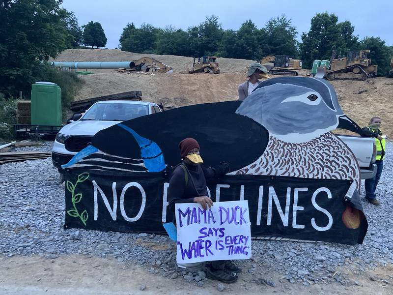 Four arrested after blocking access to Mountain Valley Pipeline using 8-ft. tall wooden duck