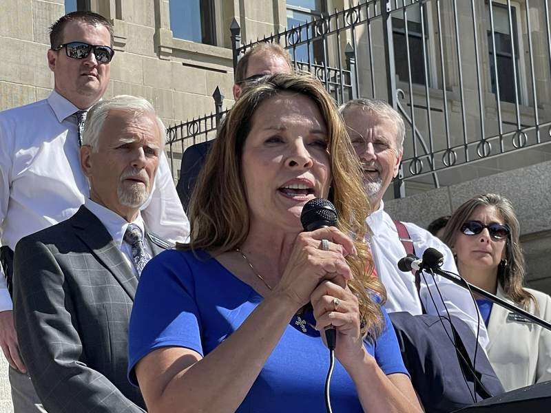FILE - In this Sept. 15, 2021 file photo Republican Lt. Gov. Janice McGeachin addresses a rally on the Statehouse steps in Boise, Idaho. Idaho Gov. Brad Little said he will rescind an executive order involving COVID-19 vaccines by McGeachin, and the commanding general of the Idaho National Guard also on Tuesday, Oct. 5 told McGeachin she cant activate troops to send to the U.S.-Mexico border. Little and Major General Michael J. Garshak made the decisions as McGeachin attempted to exercise her authority as acting governor with Little out of the state. (AP Photo/Keith Ridler,File)
