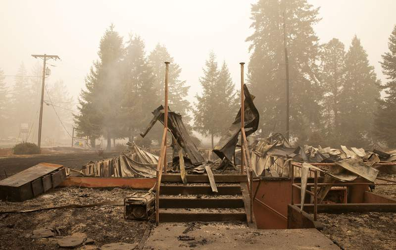 FILE - This Sept. 13, 2020 file photo shows what remains of the Oregon Department of Forestry, North Cascade District Office, after it was destroyed by a wildfire, in Lyons, Ore. The blaze was one of multiple fires that burned across the state last month. Three Pacific Northwest law firms have filed a class action lawsuit against Pacific Power and its parent company, Portland-based PacifiCorp, alleging that the power company failed to shut down its power lines despite a historic wind event and extremely dangerous wildfire conditions.  (Rob Schumacher/Statesman-Journal via AP, Pool, File)