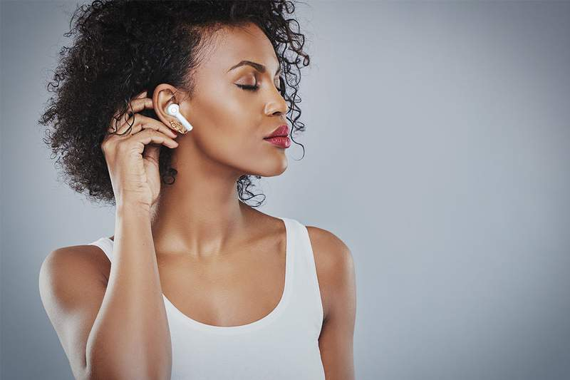 Listen to your favorite music or podcast with these bluetooth earbuds.