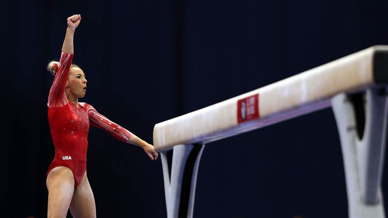 MyKayla Skinner, 24, was fourth after Day 1 at the U.S. Olympic Gymnastics Trials.