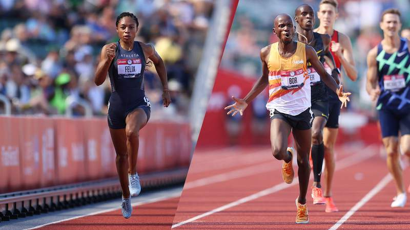 L-R: EUGENE, OREGON - JUNE 25: Allyson Felix competes in the Women' 200 Meters Semi-Finals and Hillary Bor and Benard Keter cross the finishline in the Men's 3000 Meters Steeplechase Final during day eight of the 2020 U.S. Olympic Track & Field Team Trials at Hayward Field on June 25, 2021 in Eugene, Oregon.