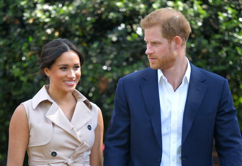 FILE - In this Oct. 2, 2019, file photo, Britain's Prince Harry and Meghan Markle appear at the Creative Industries and Business Reception at the British High Commissioner's residence in Johannesburg. Their first Netflix series will center on the Invictus Games, which gives sick and injured military personnel and veterans the opportunity to compete in sports. The Duke and Duchess of Sussexs Archewell Productions announced Tuesday its first series to hit the streaming service. (Dominic Lipinski/Pool via AP, File)