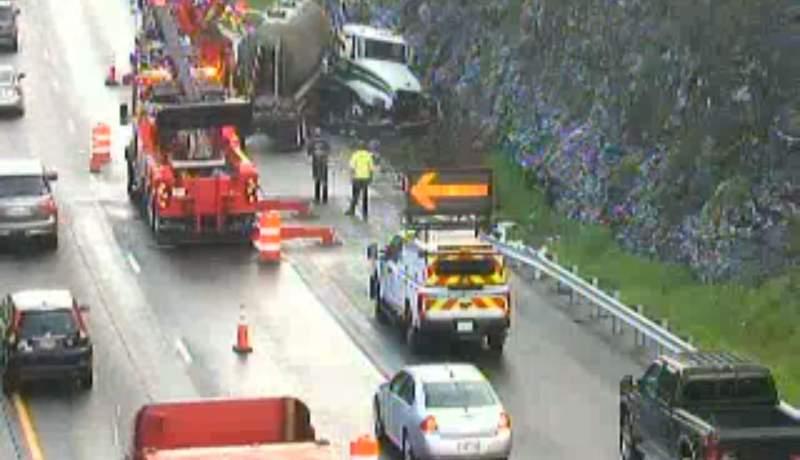 A tractor-trailer crash is causing delays on I-81N near Lexington