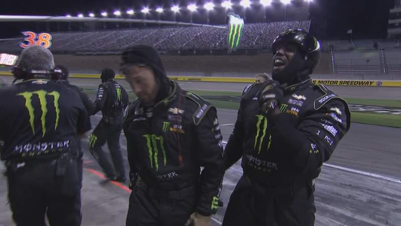 Jeremy Kimbrough, Kurt Busch pit crew member celebrates a win.