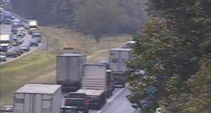 Tractor-trailer crash causes 5-mile backup on I-81 South in Roanoke County