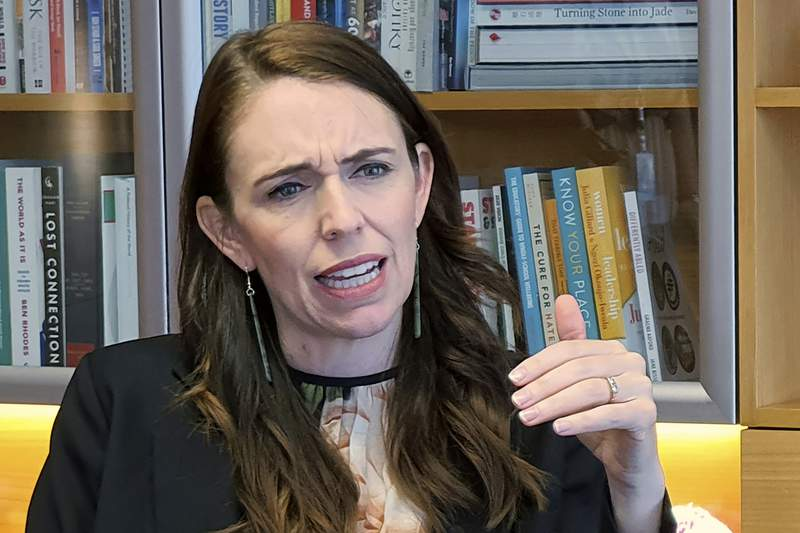 FILE - In this Dec. 16, 2020, file photo, New Zealand's Prime Minister Jacinda Ardern speaks during an interviewed in her office at the parliament in Wellington, New Zealand. Ardern took a tougher stance on China's human rights record Monday, May 3, 2021, by saying it was getting harder to reconcile differences as China's role in the world grows. (AP Photo/Sam James, File)