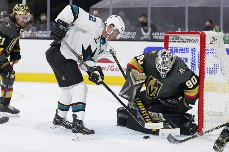 San Jose Sharks center Patrick Marleau (12) attempts a shot on Vegas Golden Knights goaltender Robin Lehner (90) during the third period of an NHL hockey game Monday, April 19, 2021, in Las Vegas. (AP Photo/John Locher)