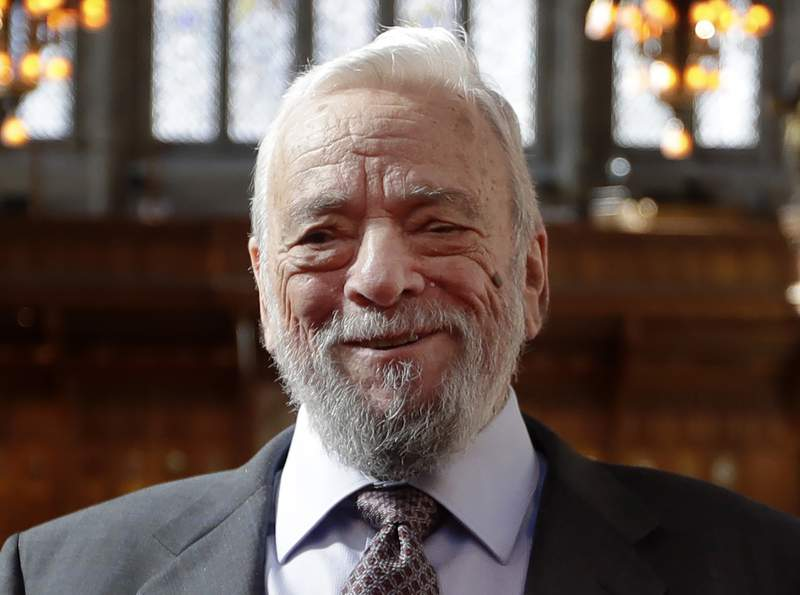 FILE - This Sept. 27, 2018 file photo shows composer and lyricist, Stephen Sondheim after being awarded the Freedom of the City of London at a ceremony at the Guildhall in London. Broadway stars will pay a 90th birthday tribute to Sondheim on the free virtual concert Take Me To The World, set to air live on April 26. (AP Photo/Kirsty Wigglesworth, File)