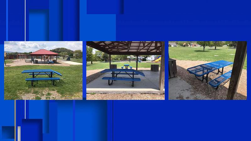Damaged benches at Spiller Elementary School in Wythe County, Virginia.