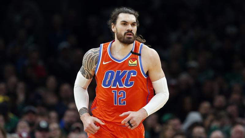 Oklahoma City Thunder's Steven Adams plays against the Boston Celtics during an NBA basketball game, Sunday, March, 8, 2020, in Boston. Adams has agreed to a two-year extension with the Pelicans following his trade to New Orleans as part of a four-team deal that also sent guard Jrue Holiday from the Pelicans to Milwaukee. A person familiar with the deal says Adams extension is worth $35 million. The person spoke to The Associated Press on condition of anonymity Tuesday, Nov. 24, 2020 because financial terms have not been announced. (AP Photo/Michael Dwyer)