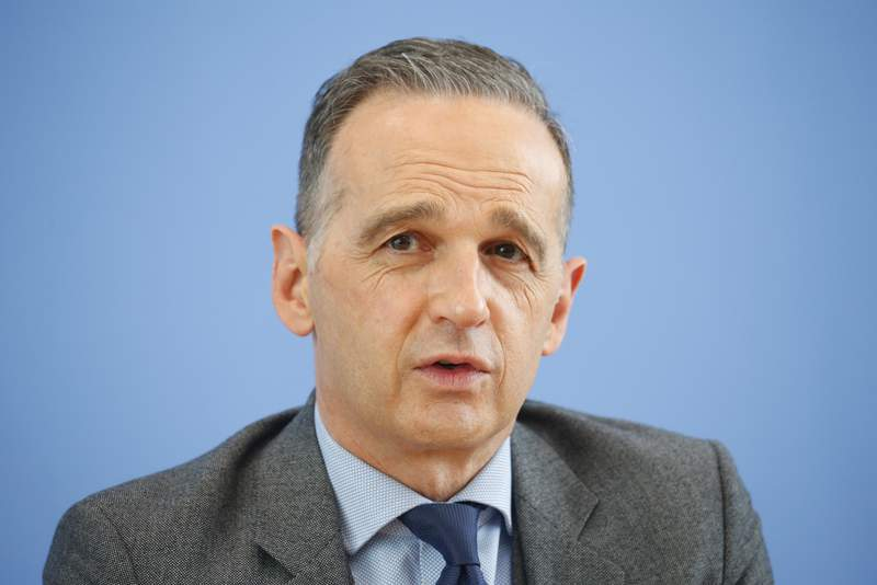 German Foreign Minister Heiko Maas attends a news conference on a 'White Paper on Multilateralism' in Berlin, Germany, Wednesday, May 19, 2021. (Michele Tantussi/Pool via AP)