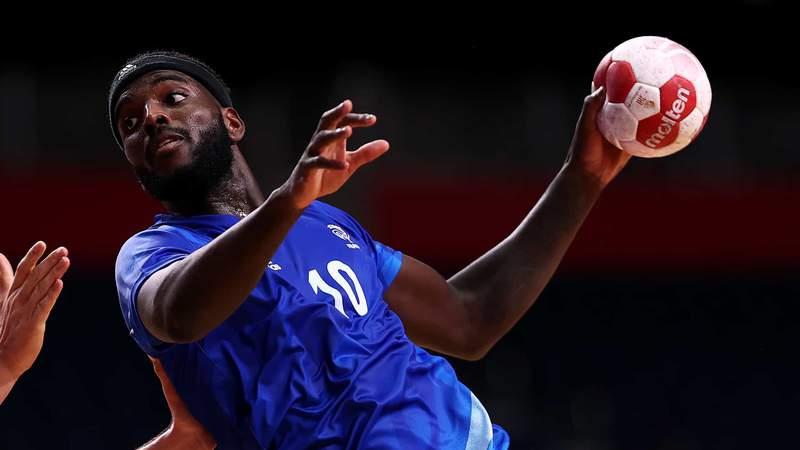 Dika Mem of Team France during the men's gold medal handball against Denmark