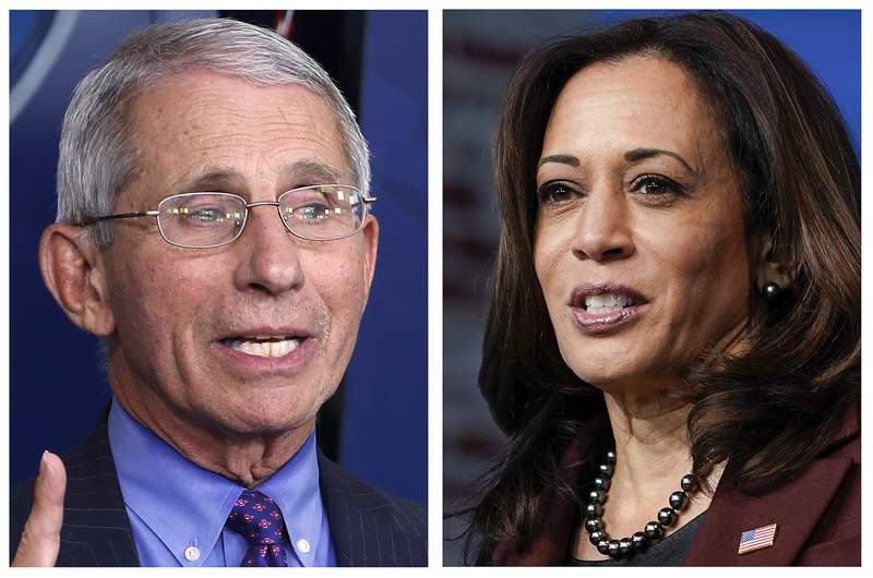 FILE - This combo of 2020 file photos shows Dr. Anotny Fauci, left, Director of the National Institute of Allergy and Infectious Diseases at the National Institutes of Health, and Vice President-elect Kamala Harris, right. Their names are listed among others atop this year's list of most mispronounced words, as complied by the U.S. Captioning Company, which captions and subtitles real-time events on TV and in courtrooms. (AP Photos/File)