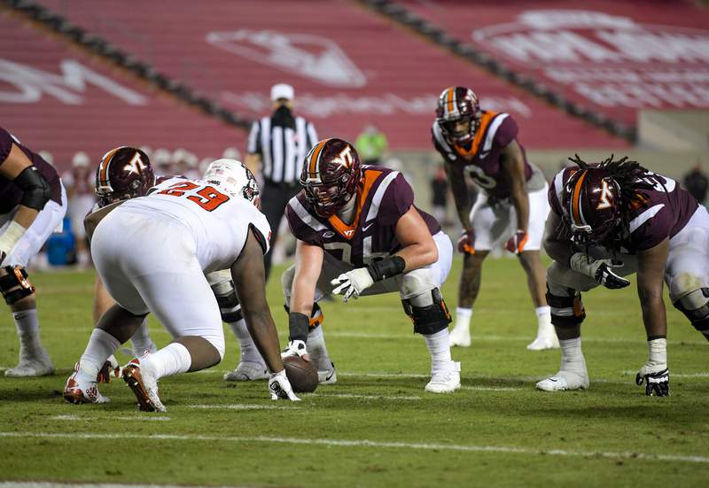 Virginia Tech Center Brock Hoffman was named ACC Offensive Lineman of the Week after the Hokies win over NC State.