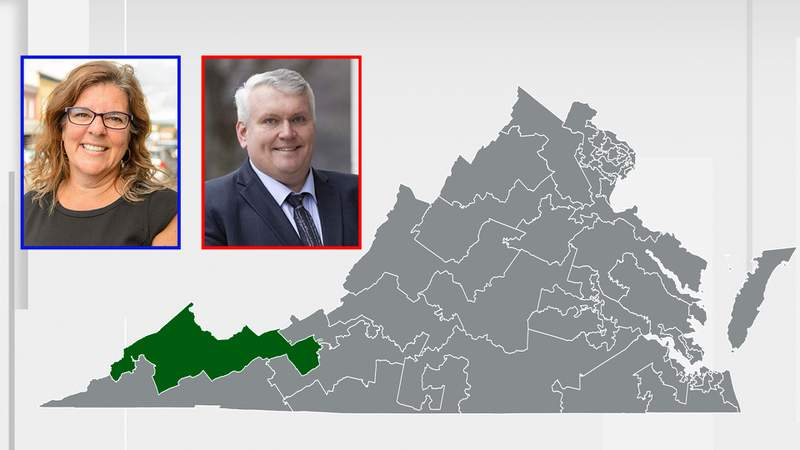 Democrat Laurie Buchwald and Republican Travis Hackworth and  are facing off to represent Virginia's 38th Senate District. Map highlighting the District (Credit: Blizzardwind)