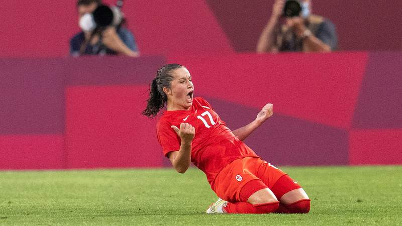 Jessie Fleming #17 of Canada celebrates her goal during a game between Canada and USWNT at Kashima Soccer Stadium on August 2, 2021 in Kashima, Japan.