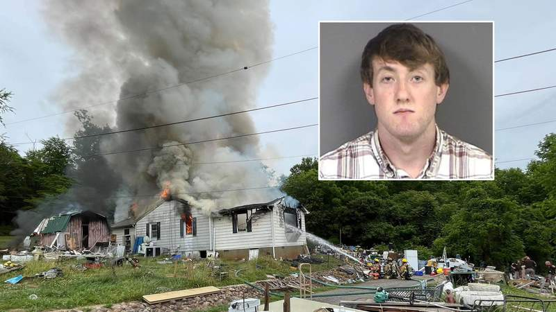 James Wade, 24, is charged with starting this house fire on June 9, 2021, in Botetourt County.