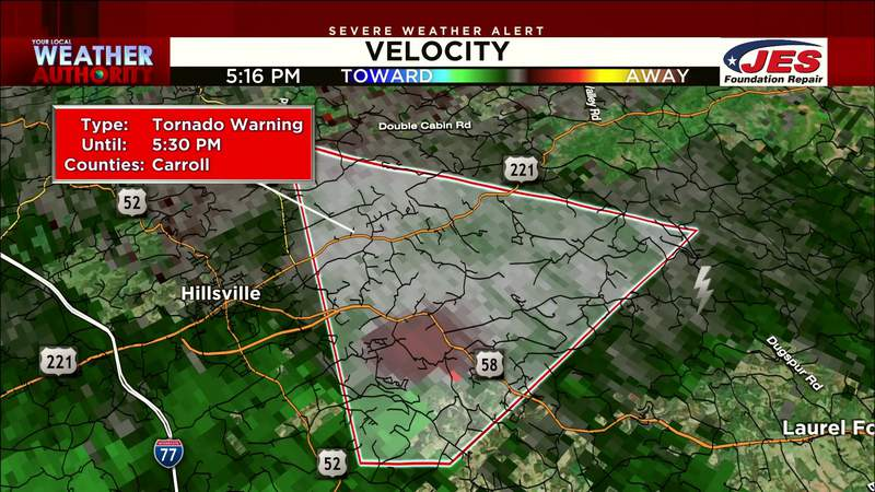 Tornado warning issued for part of Carroll County on Aug. 31, 2021