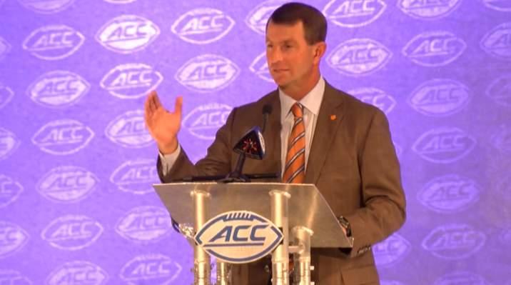 Clemson coach Dabo Swinniey addresses the media at the ACC Kickoff in Charlotte, North Carolina