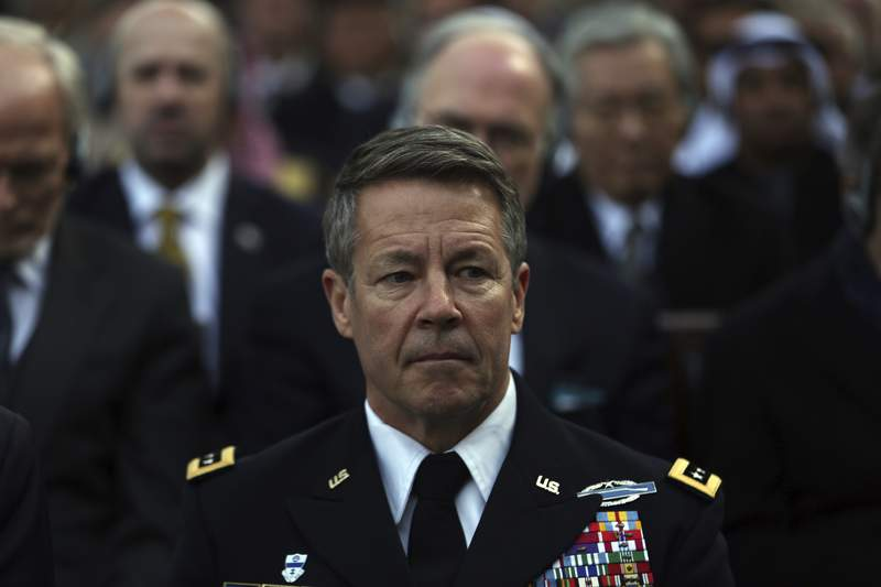 Gen. Austin S. Miller, the head of U.S. forces in Afghanistan, attends an inauguration ceremony for Afghan President Ashraf Ghani at the presidential palace in Kabul, Afghanistan, Monday, March 9, 2020. (AP Photo/Rahmat Gul)