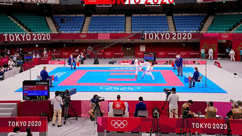 Aug 5, 2021; Tokyo, Japan; An overall view of the Nippon Budokan in the men's kumite -67kg elimination round during the Tokyo 2020 Olympic Summer Games at Nippon Budokan.
