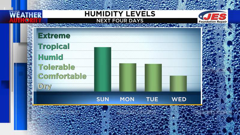 Humidity levels over the next four days