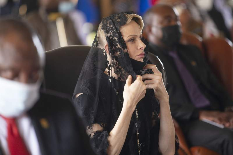 FILE  In this March 18, 2021 file photo Charlene, Princess of Monaco attends the memorial service for Zulu King Goodwill Zwelithini in Nongoma, South Africa. Officials in the principality of Monaco said Friday, Sept. 3, 2021 that Princess Charlene is in stable condition, following South African media reports that she was unwell. Princess Charlene, 43, who is married to Monaco's ruler, Prince Albert II, has been on an extended stay in her home country of South Africa(Phill Magakoe/Pool Photo via AP, File)