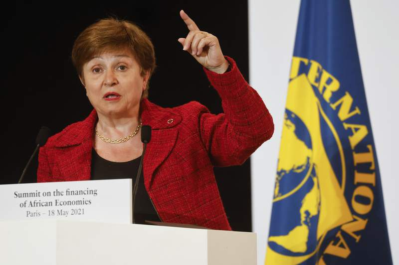 FILE - In this May 18, 2021 file photo, International Monetary Fund (IMF) Managing Director Kristalina Georgieva speaks at the end of the Financing of African Economies Summit, in Paris.  The executive board of the International Monetary Fund has approved a $650 billion expansion of the resources of the 190-nation lending institution aimed at providing more support for vulnerable nations as they battle the coronavirus pandemic. Georgieva said in a statement Friday, July 9,  that the new support, the largest such expansion in the agencys history, would be a shot in the arm for the world.   (Ludovic Marin, Pool via AP, File)