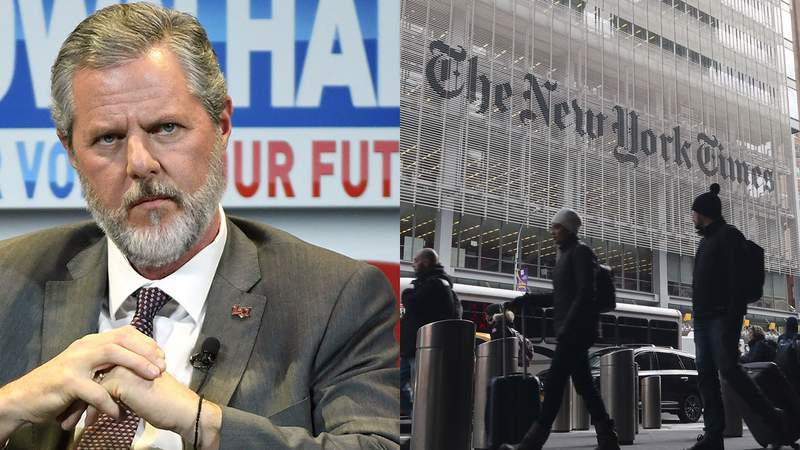 LEFT: Jerry Falwell Jr. RIGHT: People walk past the front of the New York Times building on November 21, 2018 in New York City. (Photo by Gary Hershorn/Getty Images)