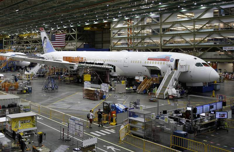 FILE - In this June 12, 2017, file photo, a Boeing 787 airplane being built for Norwegian Air Shuttle is shown at Boeing Co.'s assembly facility, in Everett, Wash. Boeing is dealing with a new production problem involving its 787 jet, in which inspections have found flaws in the way that sections of the rear of the plane were joined together. Boeing said Tuesday, Sept. 8, 2020, it's not an immediate safety risk but could cause the planes to age prematurely. (AP Photo/Ted S. Warren, File)
