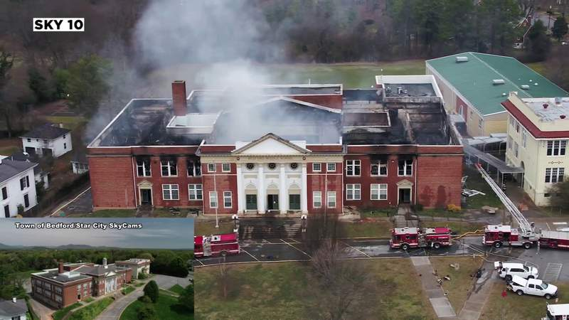 Before and after from the sky of the old Bedford Middle School