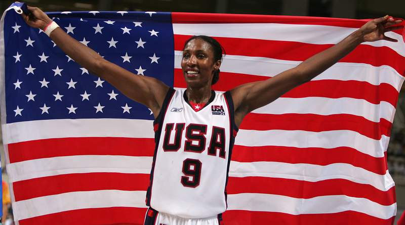 Lisa Leslie #9 of the United States celebrates winning gold 74 - 63 over Australia in the women's basketball gold medal match on August 28, 2004 during the Athens 2004 Summer Olympic Games at the Indoor Hall of the Olympic Sports Complex in Athens, Greece. (Photo by Doug Pensinger/Getty Images)