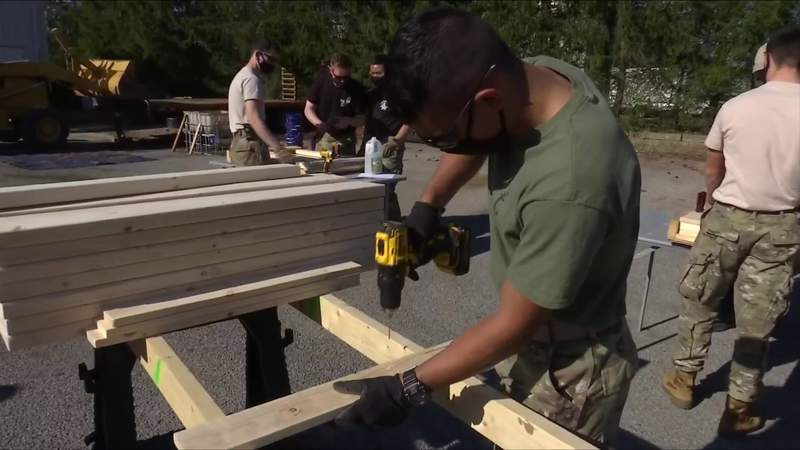 Virginia Tech Corps of Cadets helps build beds for kids