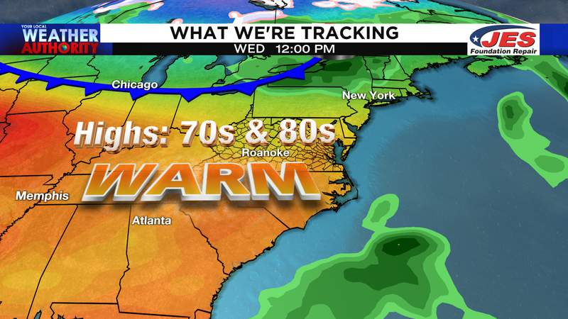 Warm air Wednesday precedes remnant rain from Hurricane Delta this weekend